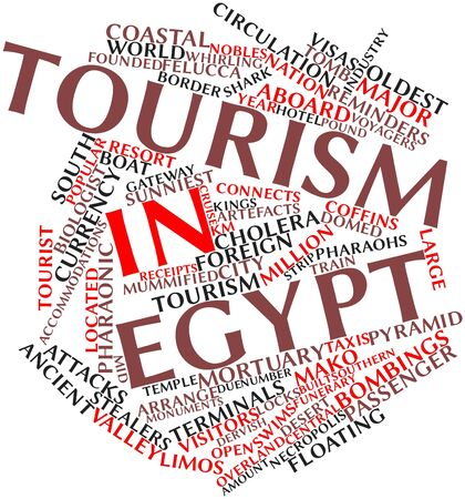 cholera: Abstract word cloud for Tourism in Egypt with related tags and terms Stock Photo