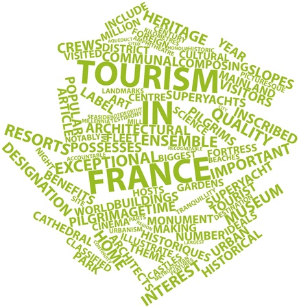 Abstract word cloud for Tourism in France with related tags and terms Stock Photo - 17023792