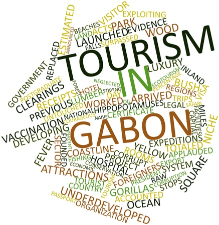 announced: Abstract word cloud for Tourism in Gabon with related tags and terms Stock Photo
