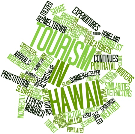 factual: Abstract word cloud for Tourism in Hawaii with related tags and terms