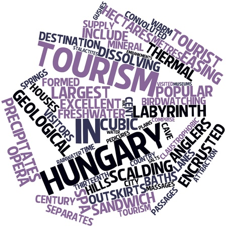 claustrophobic: Abstract word cloud for Tourism in Hungary with related tags and terms Stock Photo