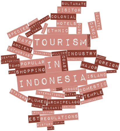 Abstract word cloud for Tourism in Indonesia with related tags and terms Stock Photo - 17020529