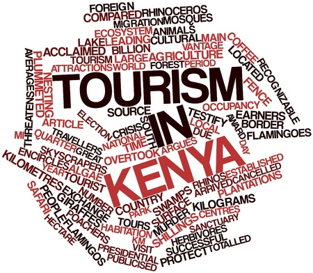 testify: Abstract word cloud for Tourism in Kenya with related tags and terms Stock Photo