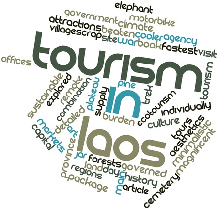 Abstract word cloud for Tourism in Laos with related tags and terms Stock Photo - 17020537