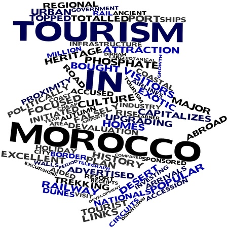 Abstract word cloud for Tourism in Morocco with related tags and terms Stock Photo - 17023720