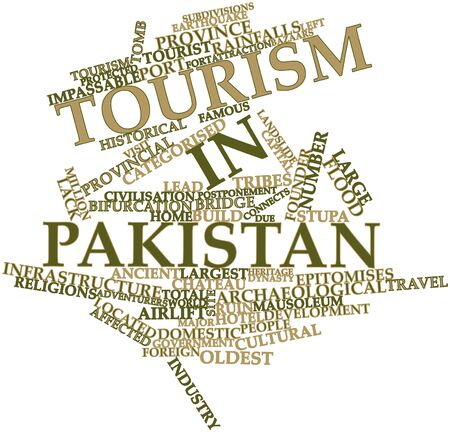 provincial tourist area: Abstract word cloud for Tourism in Pakistan with related tags and terms Stock Photo