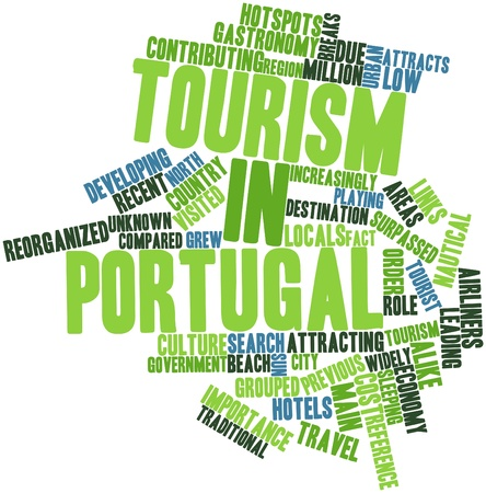 contributing: Abstract word cloud for Tourism in Portugal with related tags and terms Stock Photo