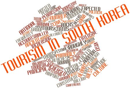 Abstract word cloud for Tourism in South Korea with related tags and terms Banco de Imagens - 17024070