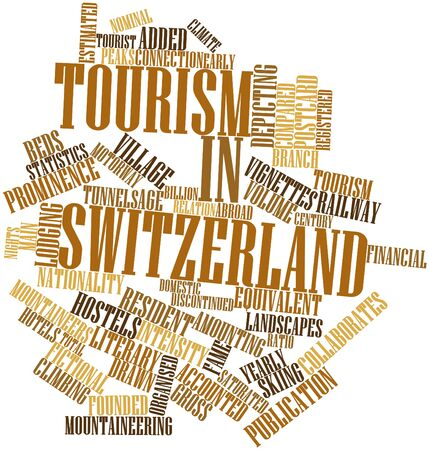 Abstract word cloud for Tourism in Switzerland with related tags and terms Stock Photo - 17029431