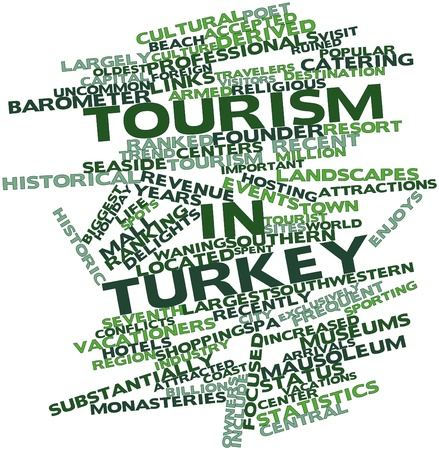 vacationers: Abstract word cloud for Tourism in Turkey with related tags and terms Stock Photo
