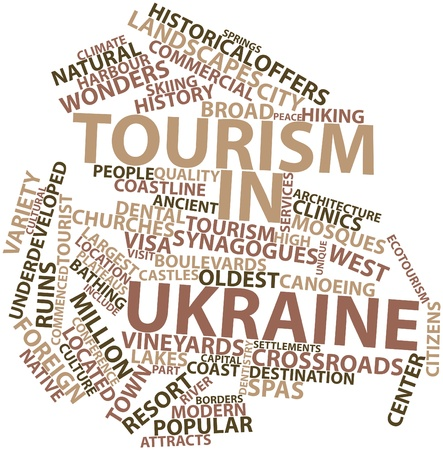 bathe: Abstract word cloud for Tourism in Ukraine with related tags and terms