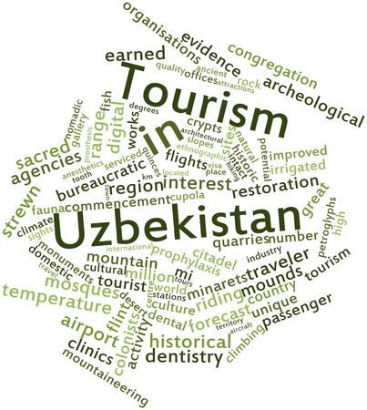 Abstract word cloud for Tourism in Uzbekistan with related tags and terms Stock Photo - 17021644