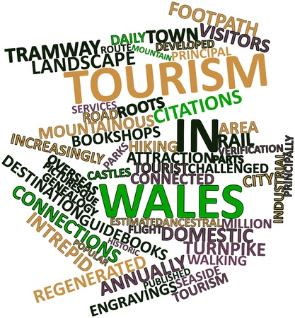 Abstract word cloud for Tourism in Wales with related tags and terms Stock Photo - 17024490