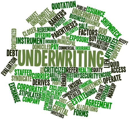 insure: Abstract word cloud for Underwriting with related tags and terms Stock Photo