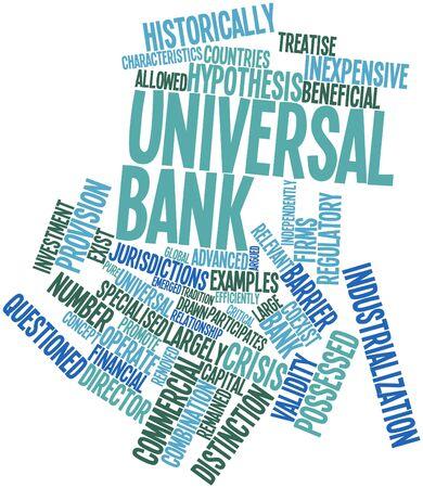 hipótesis: Nube palabra abstracta para el banco universal con etiquetas y términos relacionados