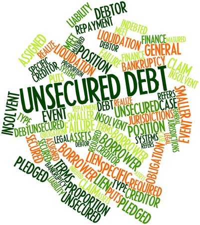 required: Abstract word cloud for Unsecured debt with related tags and terms