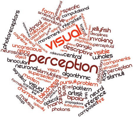 Abstract word cloud for Visual perception with related tags and terms Stock Photo - 17024428