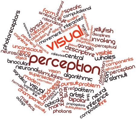percepción: Nube palabra abstracta para la percepción visual con etiquetas y términos relacionados