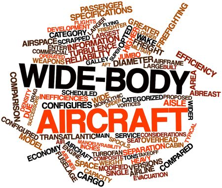 specifications: Abstract word cloud for Wide-body aircraft with related tags and terms Stock Photo