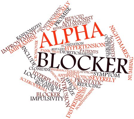 prescribed: Abstract word cloud for Alpha blocker with related tags and terms Stock Photo