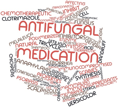 obtained: Abstract word cloud for Antifungal medication with related tags and terms Stock Photo