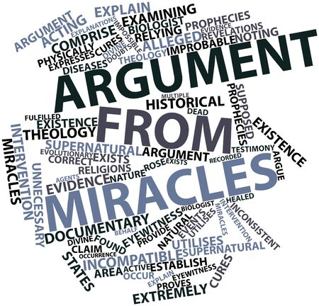 alleged: Abstract word cloud for Argument from miracles with related tags and terms