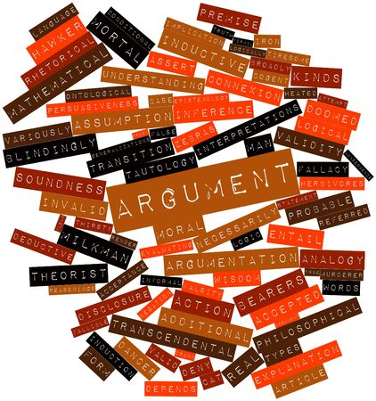 argument: Abstract word cloud for Argument with related tags and terms Stock Photo