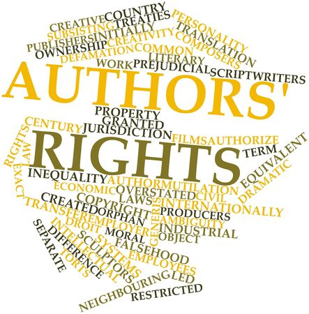 tratados: Nube de la palabra abstracta de los derechos de los autores con las etiquetas y t�rminos relacionados