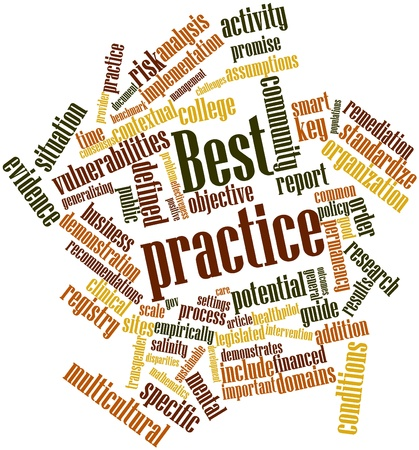 care providers: Abstract word cloud for Best practice with related tags and terms Stock Photo