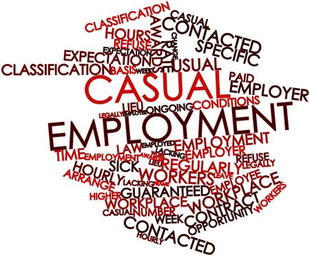 ongoing: Abstract word cloud for Casual employment with related tags and terms Stock Photo