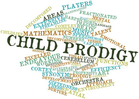 prodigy: Abstract word cloud for Child prodigy with related tags and terms