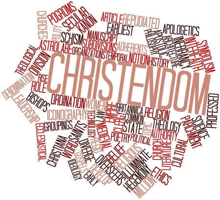 pontiff: Abstract word cloud for Christendom with related tags and terms Stock Photo