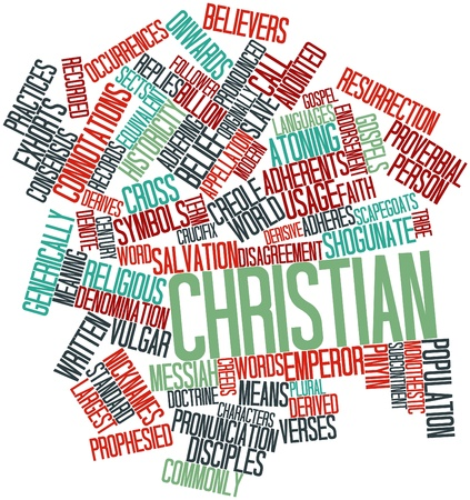 anointed: Abstract word cloud for Christian with related tags and terms Stock Photo