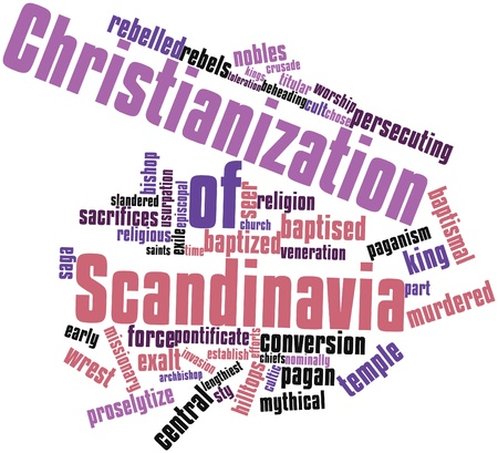 exile: Abstract word cloud for Christianization of Scandinavia with related tags and terms Stock Photo