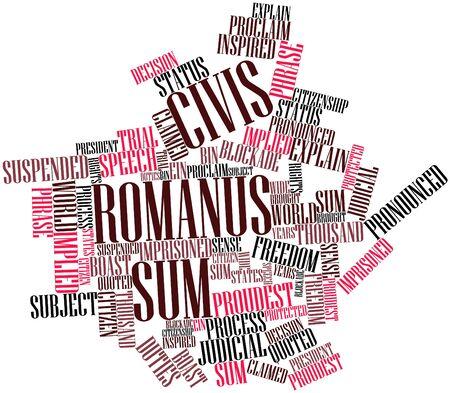 boast: Word cloud astratto per somma Civis romanus con tag correlati e termini