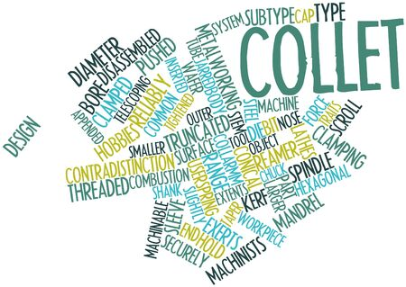 spindle: Abstract word cloud for Collet with related tags and terms Stock Photo