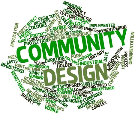 unitary: Abstract word cloud for Community design with related tags and terms