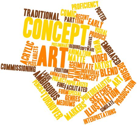 programmed: Abstract word cloud for Concept art with related tags and terms