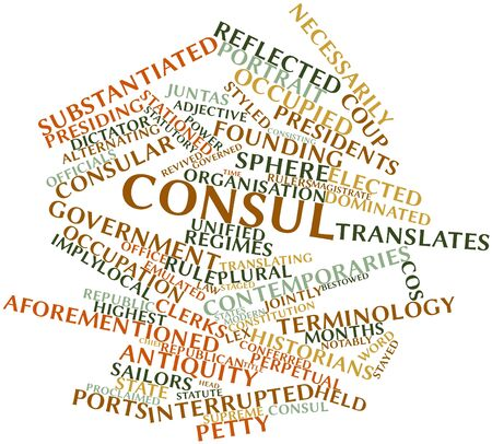 regimes: Abstract word cloud for Consul with related tags and terms Stock Photo