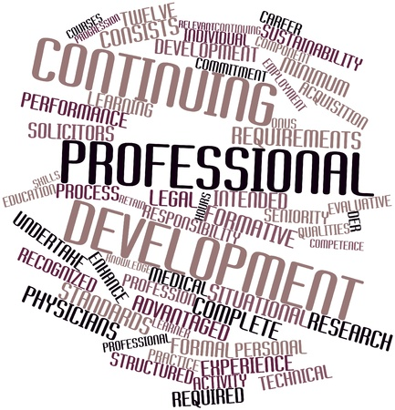 evaluative: Abstract word cloud for Continuing professional development with related tags and terms