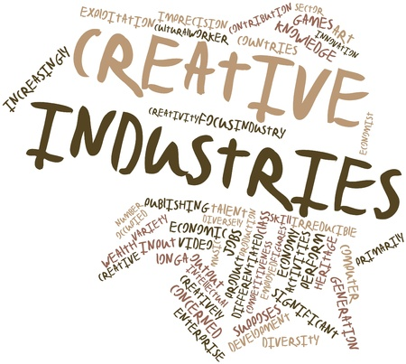 audiovisual: Abstract word cloud for Creative industries with related tags and terms Stock Photo