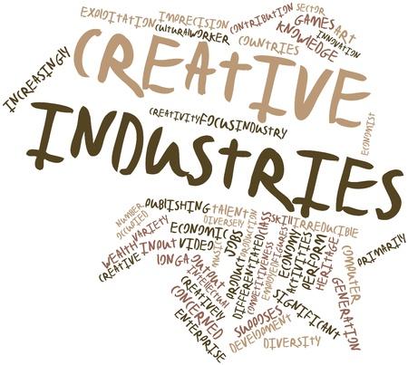 actividad econ�mica: Nube palabra abstracta para las industrias creativas con las etiquetas y t�rminos relacionados Foto de archivo