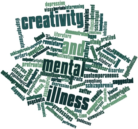 schizophrenic: Abstract word cloud for Creativity and mental illness with related tags and terms