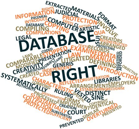 ruling: Abstract word cloud for Database right with related tags and terms
