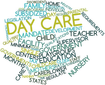 centers: Abstract word cloud for Day care with related tags and terms Stock Photo