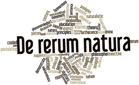 furtherance: Abstract word cloud for De rerum natura with related tags and terms Stock Photo