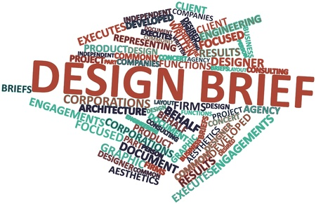 word clouds: Abstract word cloud for Design brief with related tags and terms