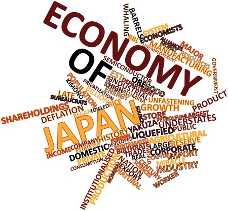 Abstract word cloud for Economy of Japan with related tags and terms Stock Photo