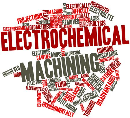 workpiece: Abstract word cloud for Electrochemical machining with related tags and terms