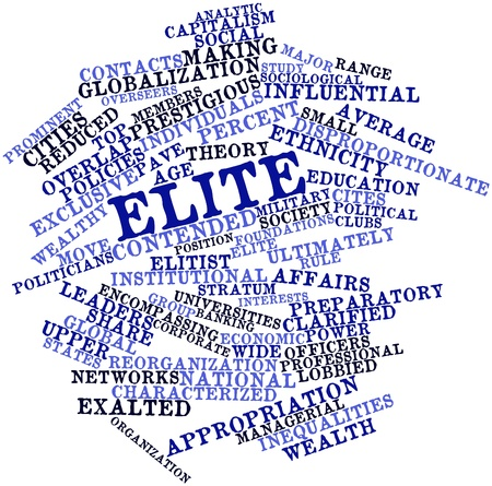 proponents: Abstract word cloud for Elite with related tags and terms Stock Photo